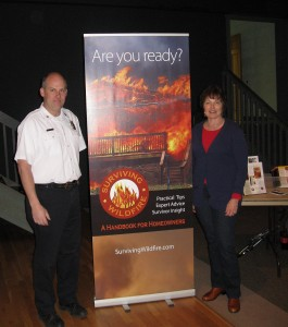 Northeast Teller County Fire Chief Tyler Lambert with keynote speaker Linda Masterson