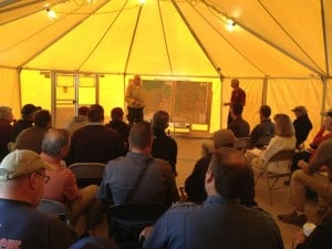 Cooperator meetings, such as this one that took place on the Beaver Creek Fire (2013) near Sun Valley, Idaho, are an effective way for Incident Management Teams to work with local community stakeholders during fire incidents. (Photo credit: Branda Nowell)