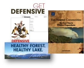"Examples of Fire PIT campaigns include: The ""Get Defensive"" defensible space campaign, the Lake Tahoe Fire Adapted Communities Guide and the ""Healthy Forest, Healthy Lake"" series of interpretive trail signs."