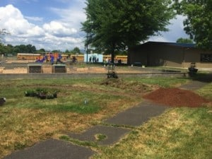 White City Elementary School. The sod has been removed; fine bark mulch and soil are to be installed next. (Photo Credit: Ashley Lara)