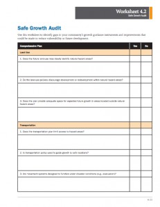A screenshot of the Safe Growth Audit worksheet.