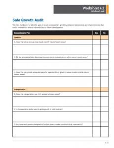 A screenshot of the Safe Growth Audit worksheet.