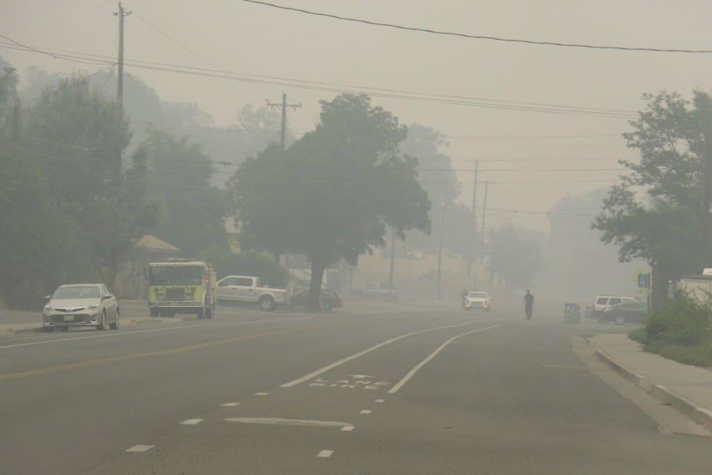 hayfork in smoke