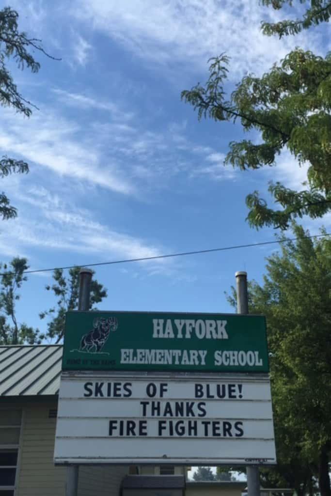 school sign hayfork