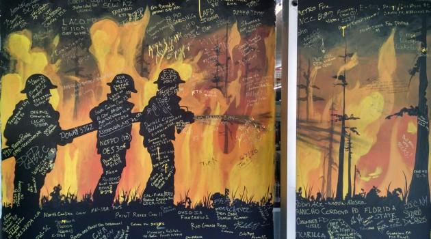 firefighter mural in Hayfork, California