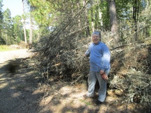 This resident gathered this material from her property by herself. Spruce budworm had hit this area hard, and there were a lot of standing dead balsam. Photo credit: Gloria Erickson.
