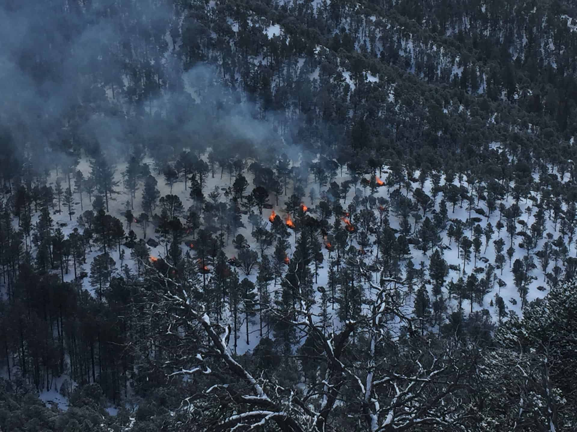 Aerial view of pile burning