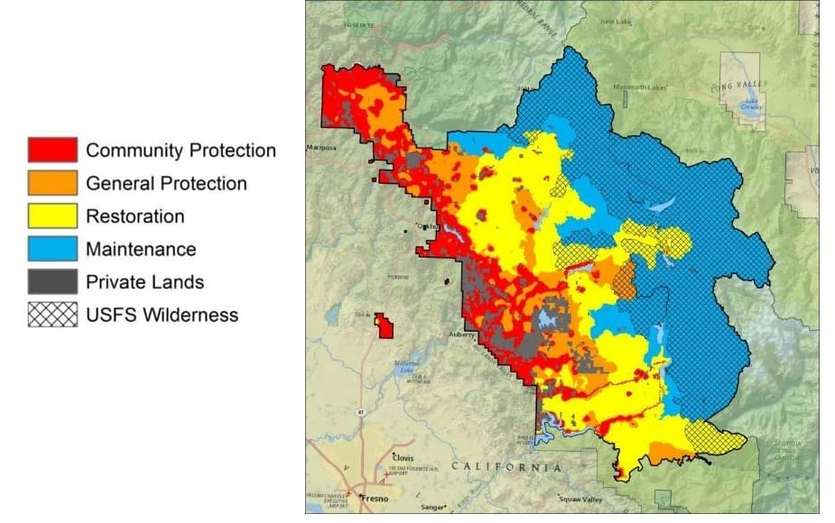 Draft strategic wildfire management zones for the Sierra National Forest. Credit: Phil Bowden