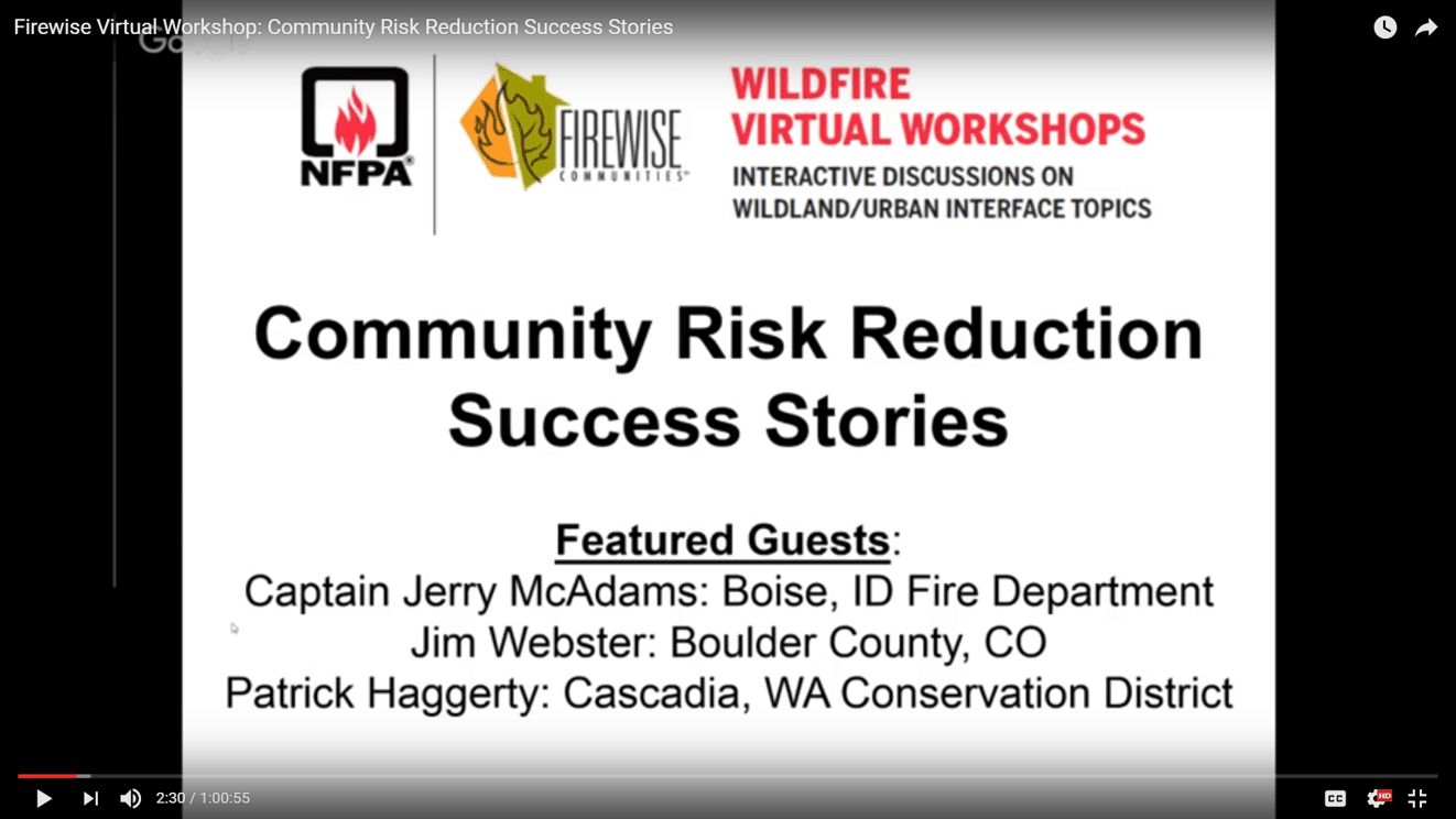 Introductory slide for Firewise's recent success story webinar, one of the webinars highlighted in this post.