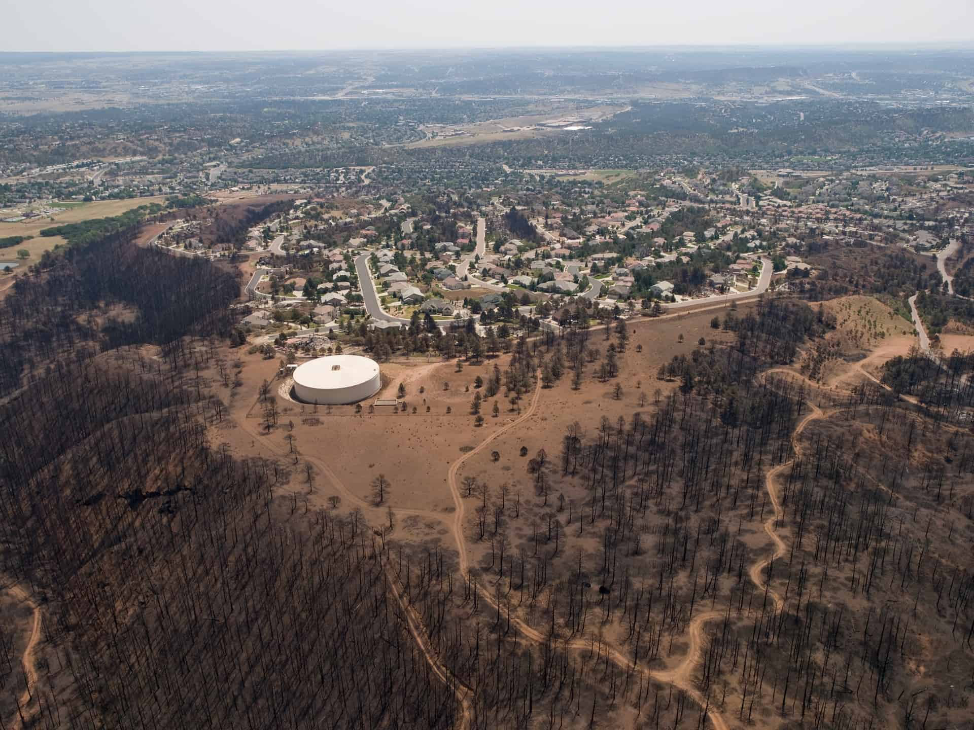 Aerial photograph of Colorado Springs after the Waldo Canyon Fire