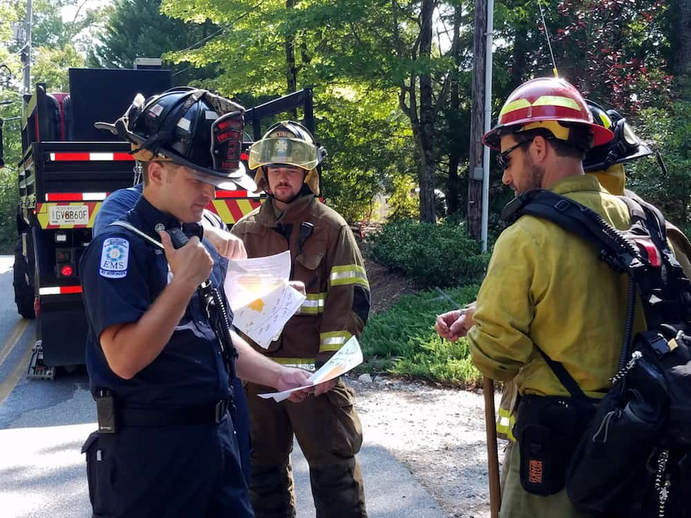 Multiple agencies were involved including Georgia Forestry, USFS, and White Co FD. Credit: Frank Riley