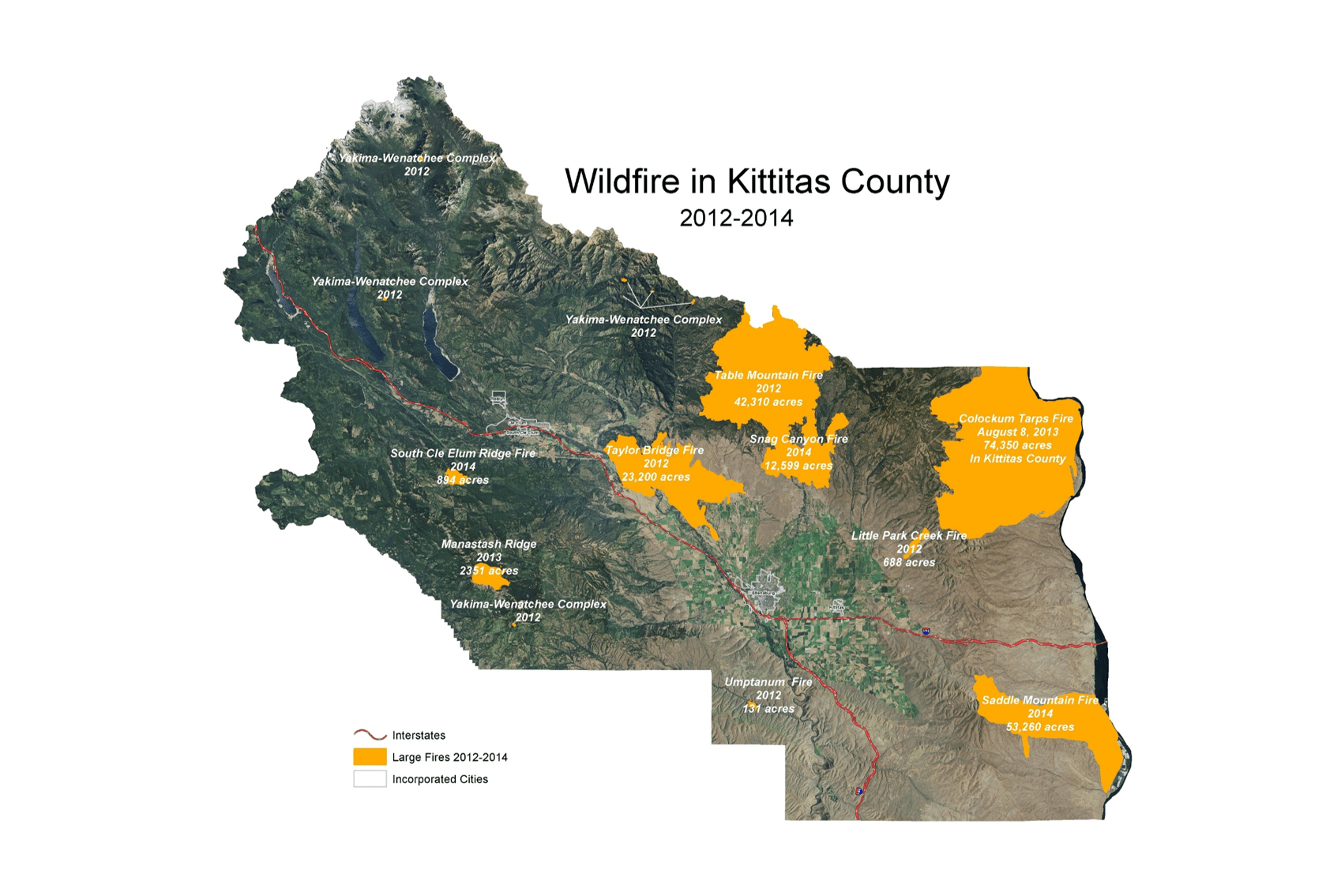 A map of Kittitas County's 2012-2014 wildfires.