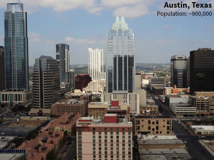 Austin's skyline, population about 900,000. This is an example of an urban FAC setting.