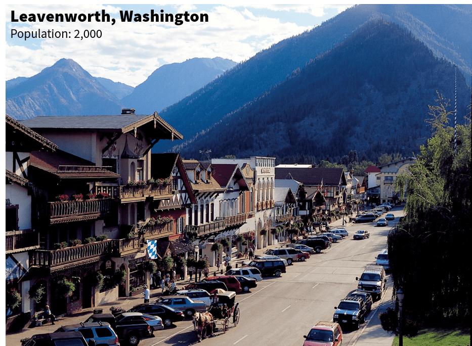 A photo of downtown Leavenworth, WA, population= 2,000