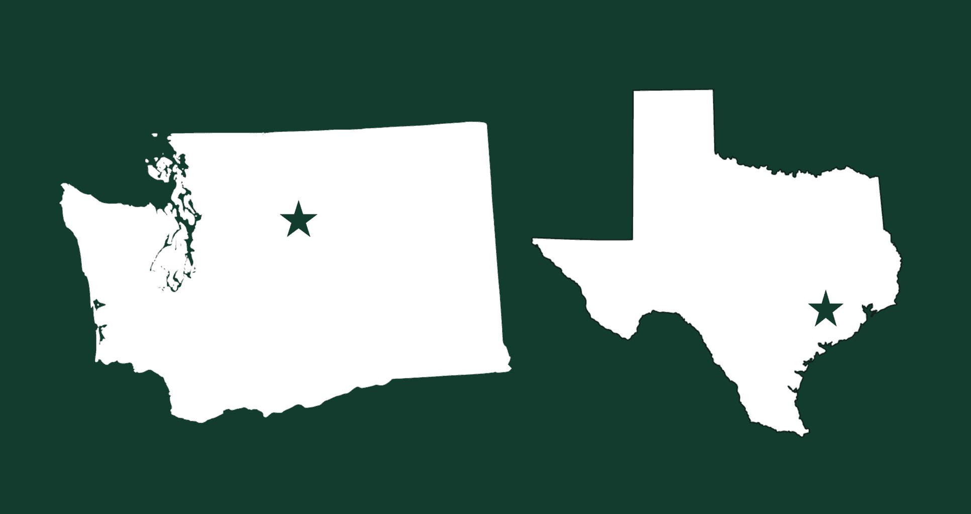 Maps of Washington and Texas indicating the general location of Leavenworth and Austin