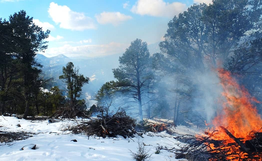 Landscape photo of winter pile burning