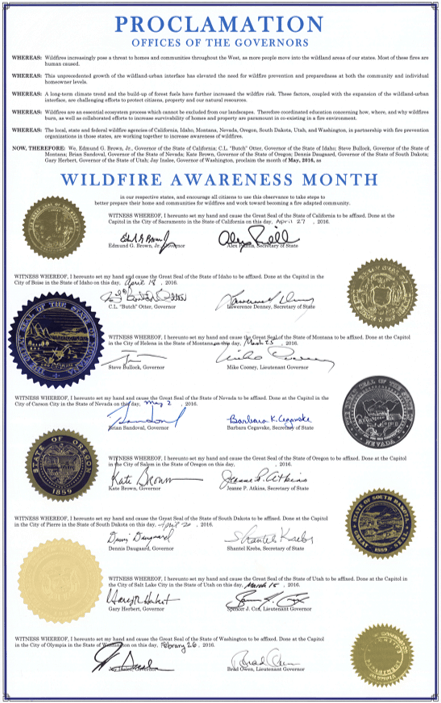 All eight state seals and governors' signatures on the 2016 Proclamation, a yearly proclamation designed to increase wildfire awareness.