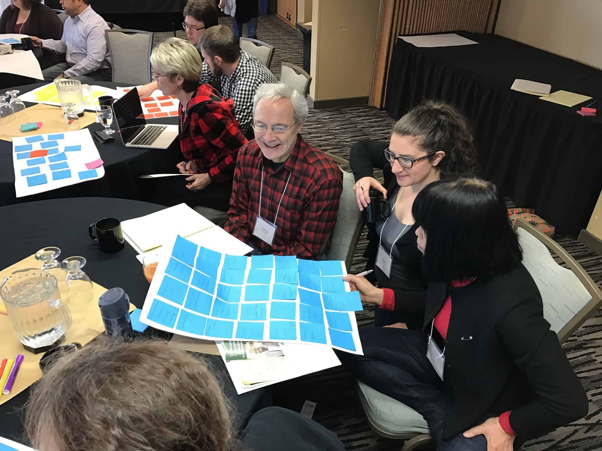 Workshop participants doing a mapping a long-term wildfire recovery planning activity with sticky-notes.