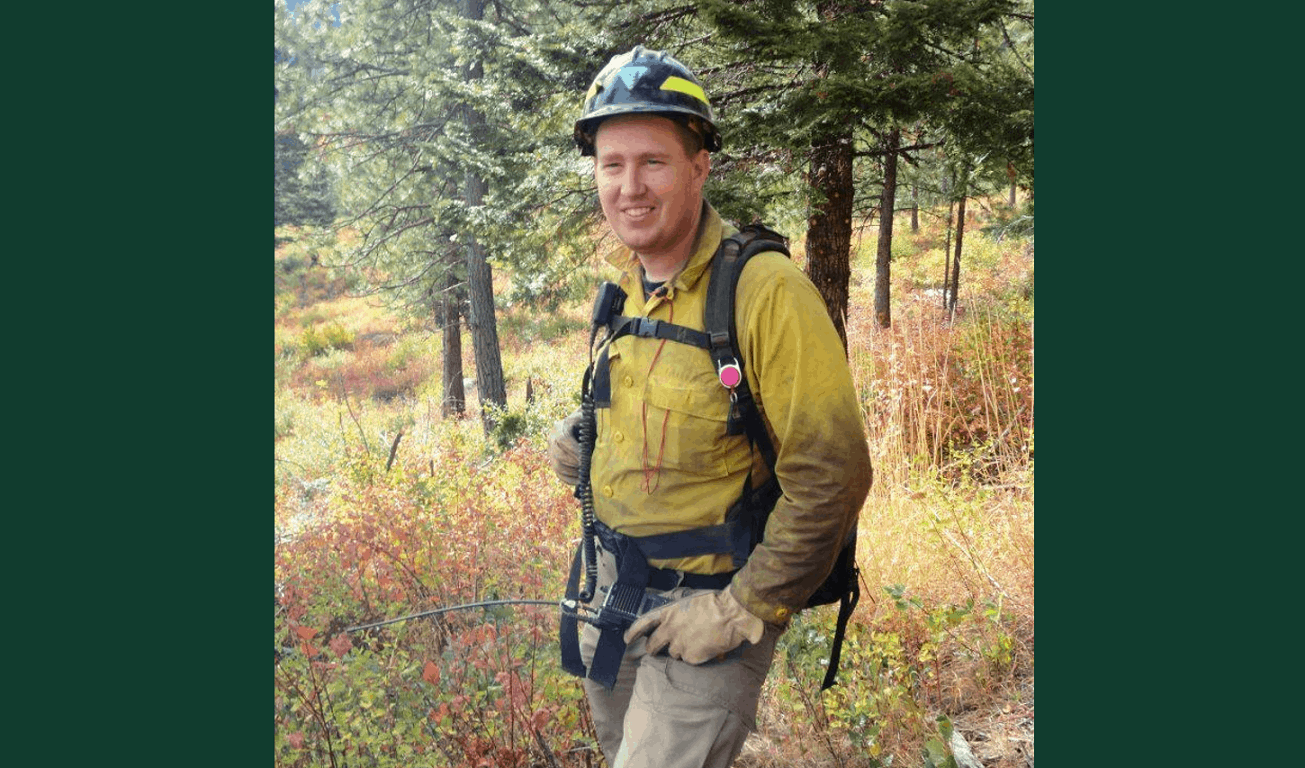 Richard Parrish during a prescribed fire.