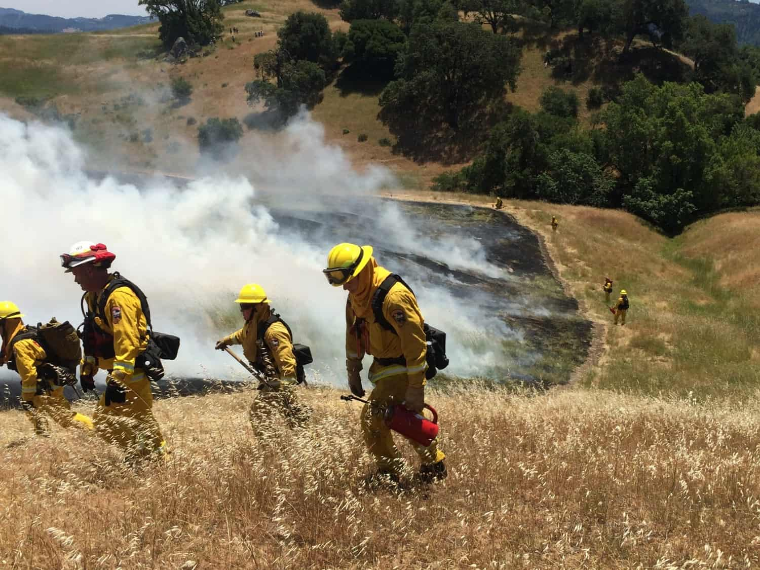 A prescribed fire in northern California on a steep hillside
