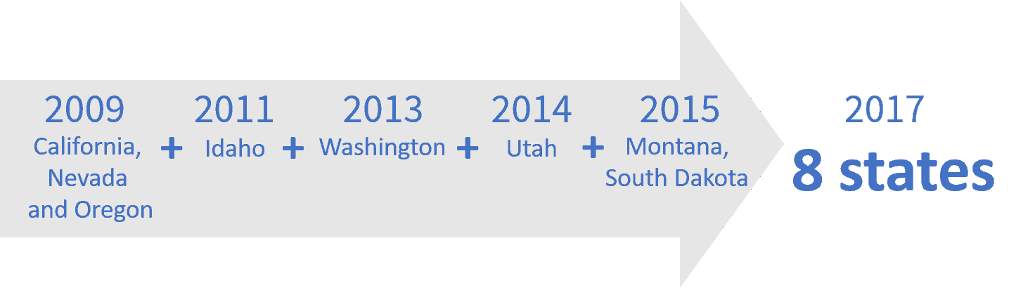 The proclamation effort began in 2009, with California, Nevada and Oregon as participants. Idaho joined in 2011, followed by Washington in 2013. Utah joined in 2014 and then Montana and South Dakota joined in 2015, bringing the final participation to eight states.