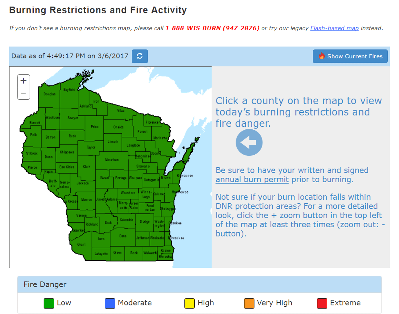 Interactive map funded by State and Private Forestry, USDA Forest Service. Users click on their county to view the day's burning restrictions and fire danger.