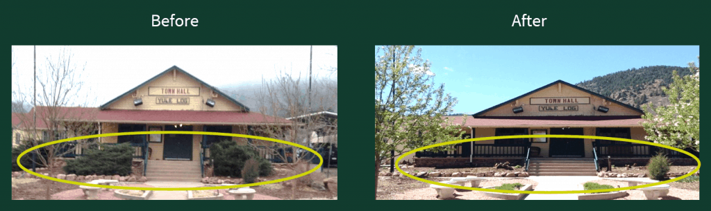 Before and after photos of a building, indicating the removal of juniper trees