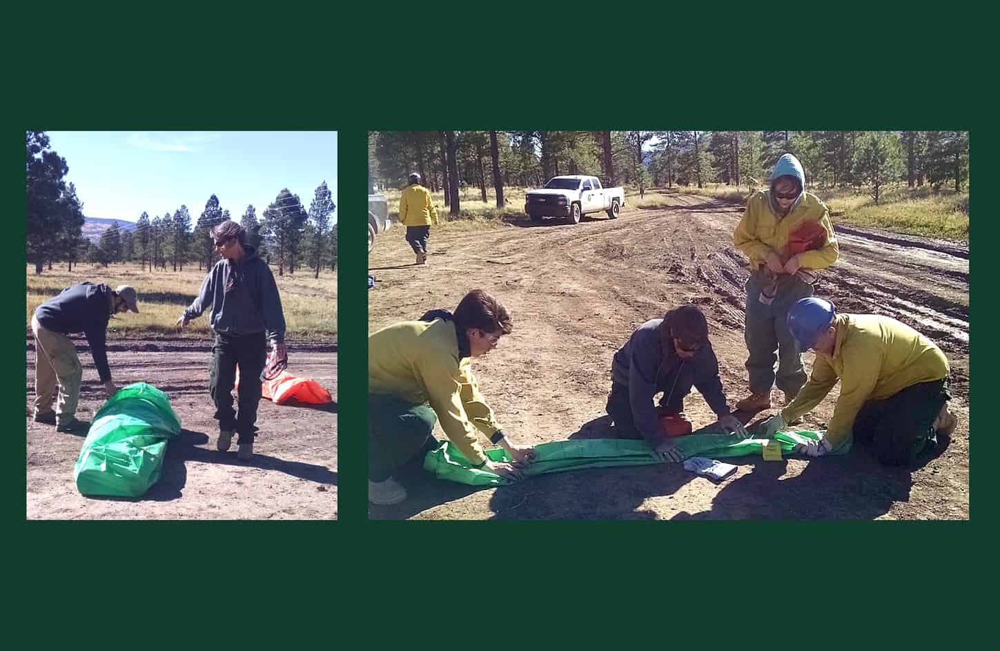 Two photos of Wildfire Network's Krys Nystrom training youth in the lost art of refolding a practice shelter. Credit: Krista Bonfantine, Arid Land Innovation