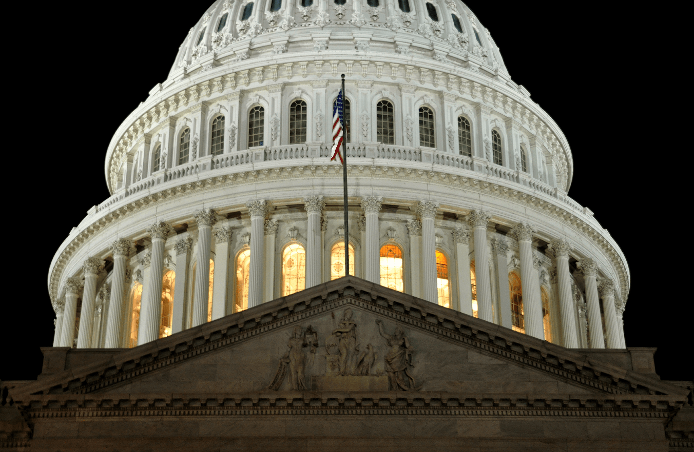United States Capitol: a close of the dome at night.