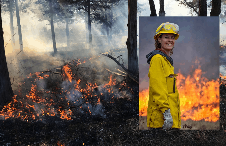 Picture of Inga at a prescribed burn, on top of a landscape photo of a prescribed burn