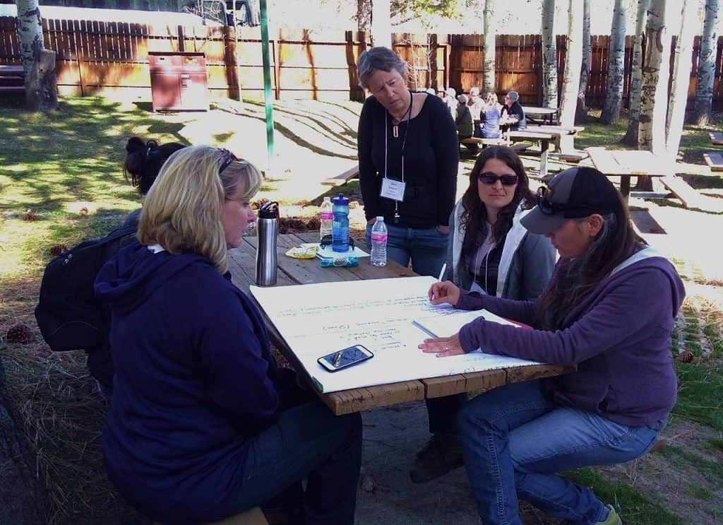 Group of people brainstorming about fire adapted communities at a picnic table