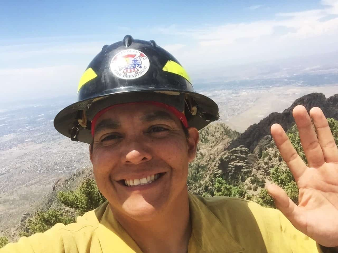 """A """"selfie"""" of Porfirio in his firefighter uniform"""