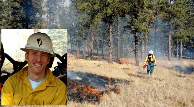 Profile picture of Eytan tiled on a picture of him running the drip torch on a prescribed fire. Through their partnership with TREX, the Guild advances controlled burning.