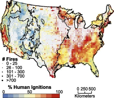 Figure 1 from the paper that this Science Tuesday post address. The figure is a map of the contiguous United States with color and size coded dots size showing the country's wildfire history.