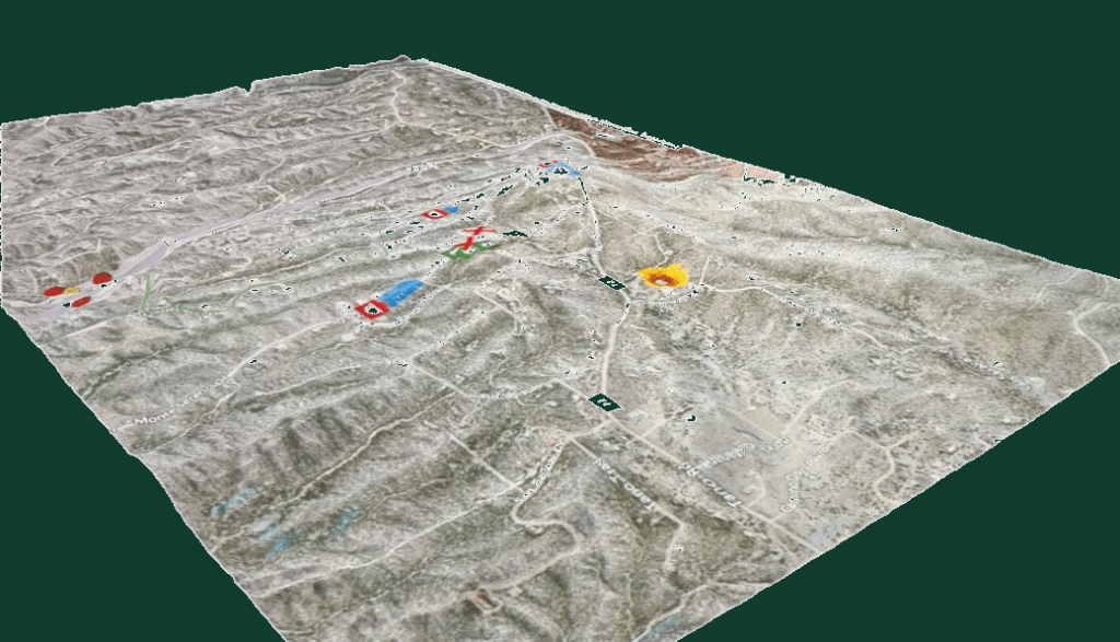 A sample Simtable, which is a three-dimensional display made of sand that runs wildfire simulations