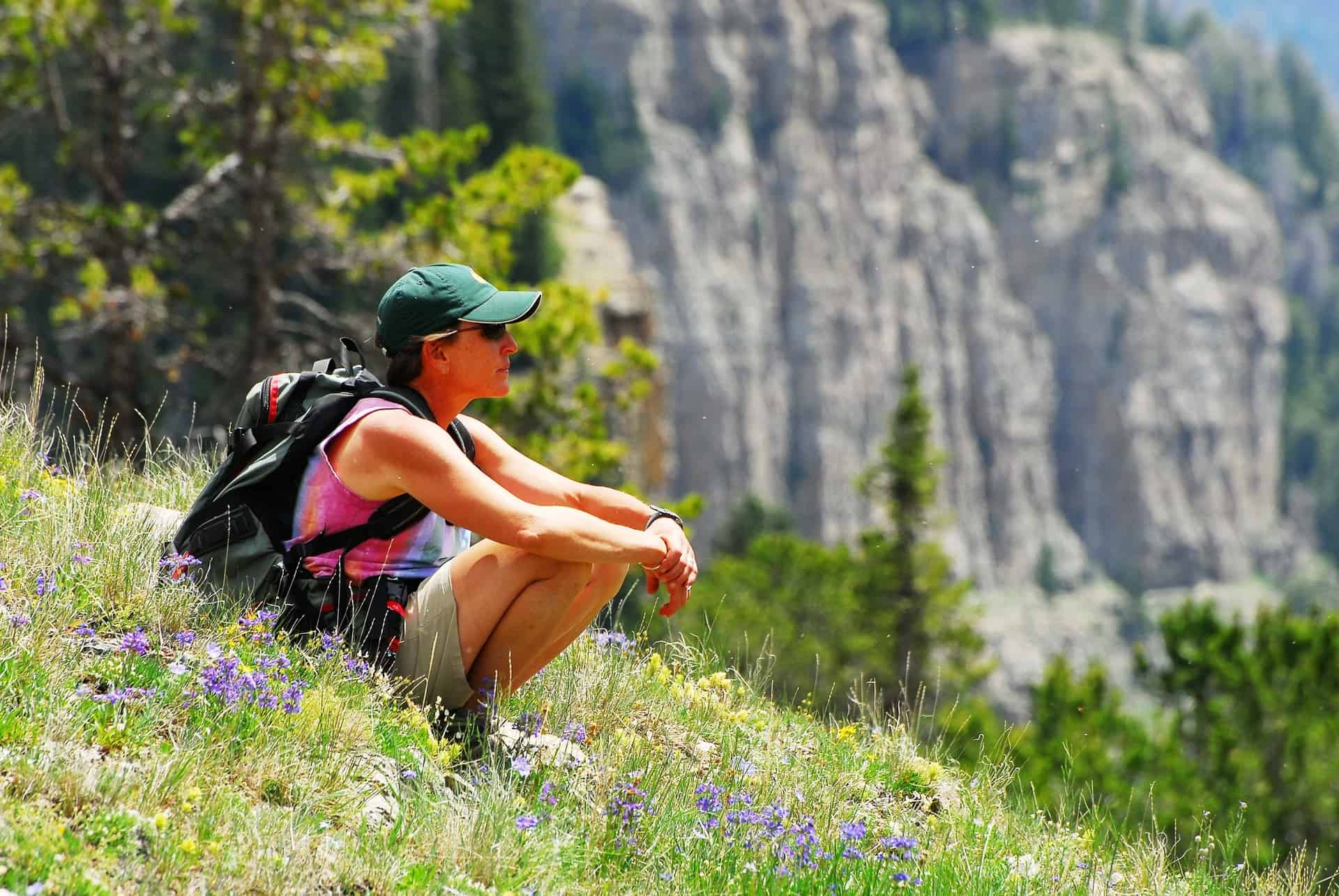 Liz taking a rest during a hike in Caribou-Targhee National Forest