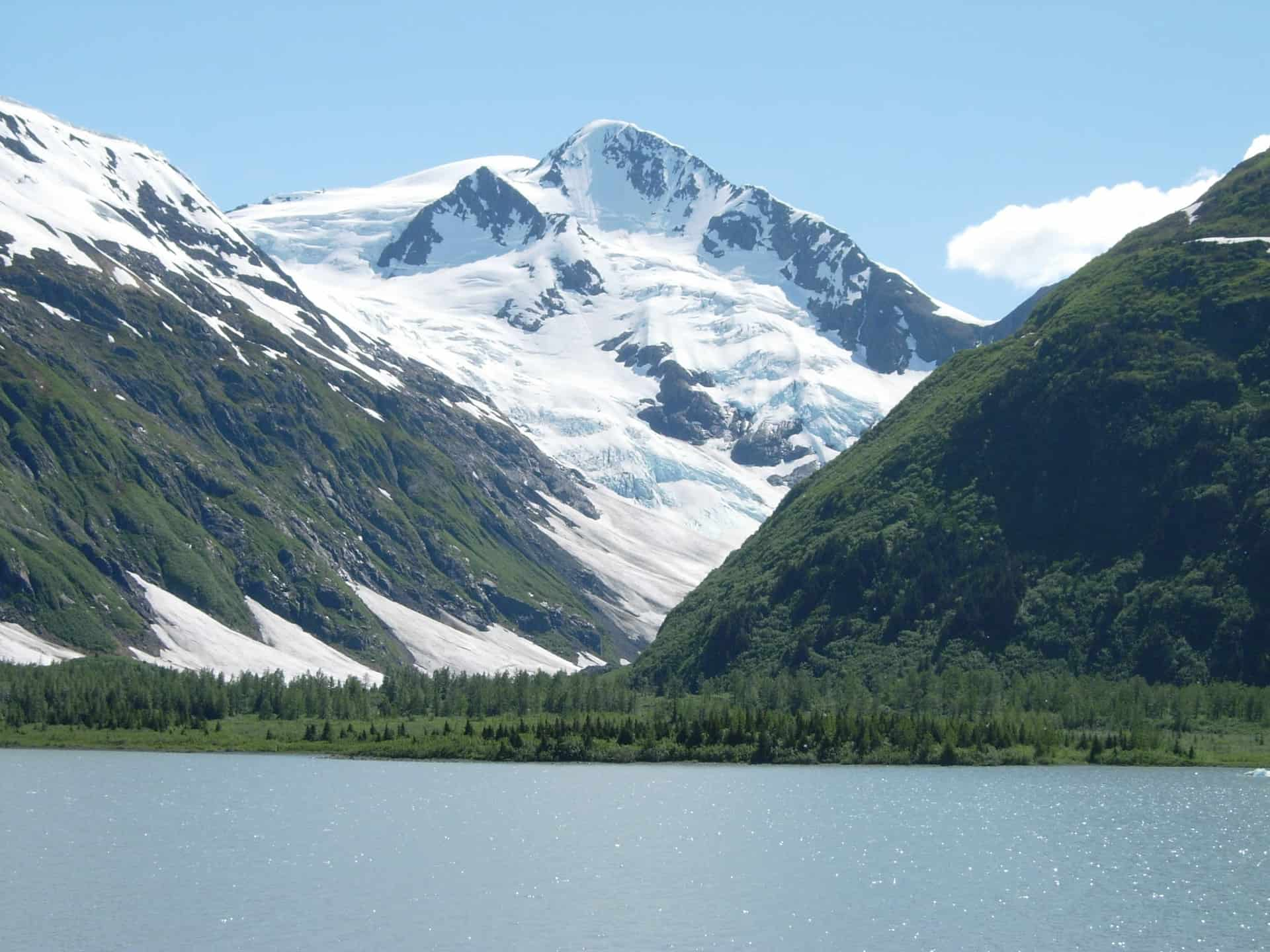 Mountains and boreal forests surrounding Portage Lake