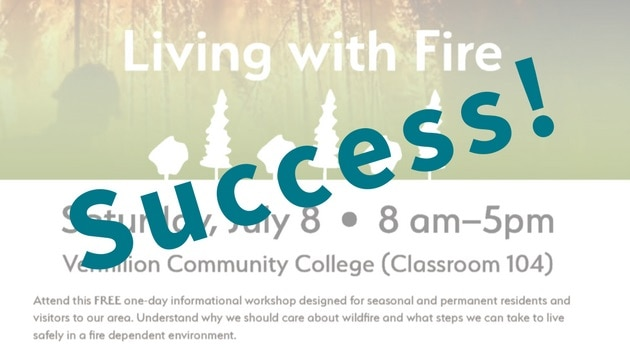 """Screenshot of the community wildfire resilience workshop flyer, with """"Success!"""" imposed on it"""