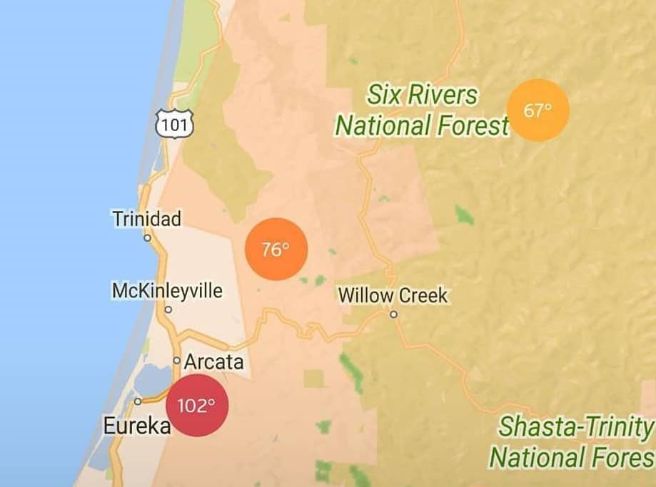 Screenshot of temperatures near Eureka during Labor Day weekend. Eureka was 102; further inland, temperatures ranged from 67 to 76.