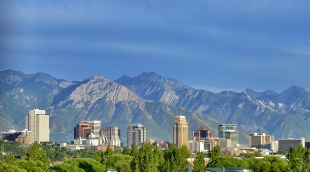 Panoramic view of downtown Salt Lake City, the Rockies in the backdrop