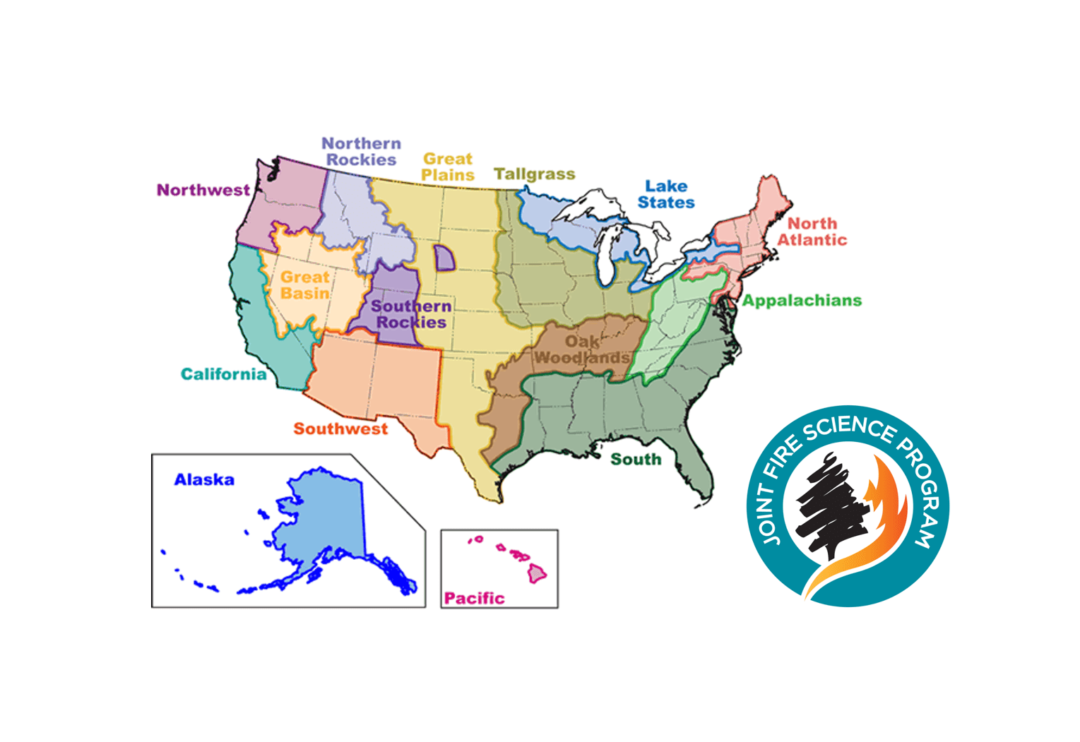 Map of the Joint Fire Science Program'sFire Science Exchange Network
