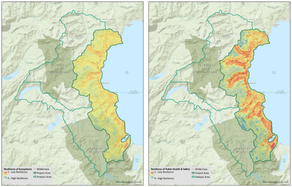 Maps indicating that fire resilient landscapes (in terms of both ecosystems and public health and safety) are similar