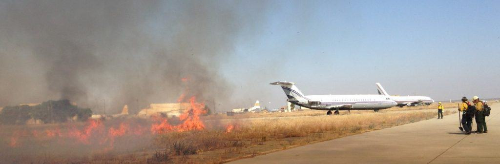 Prescribed fire near an airplane