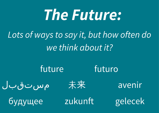 "Graphic stating, ""The future: lots of ways to say it, but how often do we think about it?"" With nine different translations of future listed"
