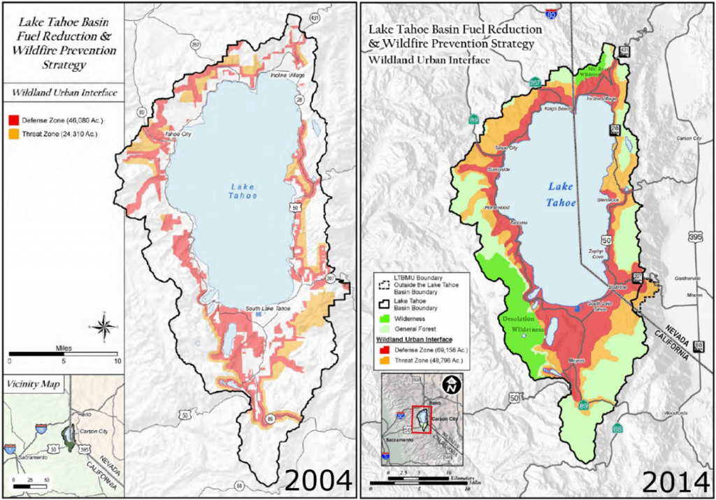 Comparison of the Lake Tahoe Basin wildland-urban interface boundaries in 2004 and 2014, showing the WUI to have expanded in 2014