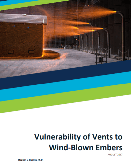 Screenshot of Vulnerability of Vents to Wind-Blown Embers report cover