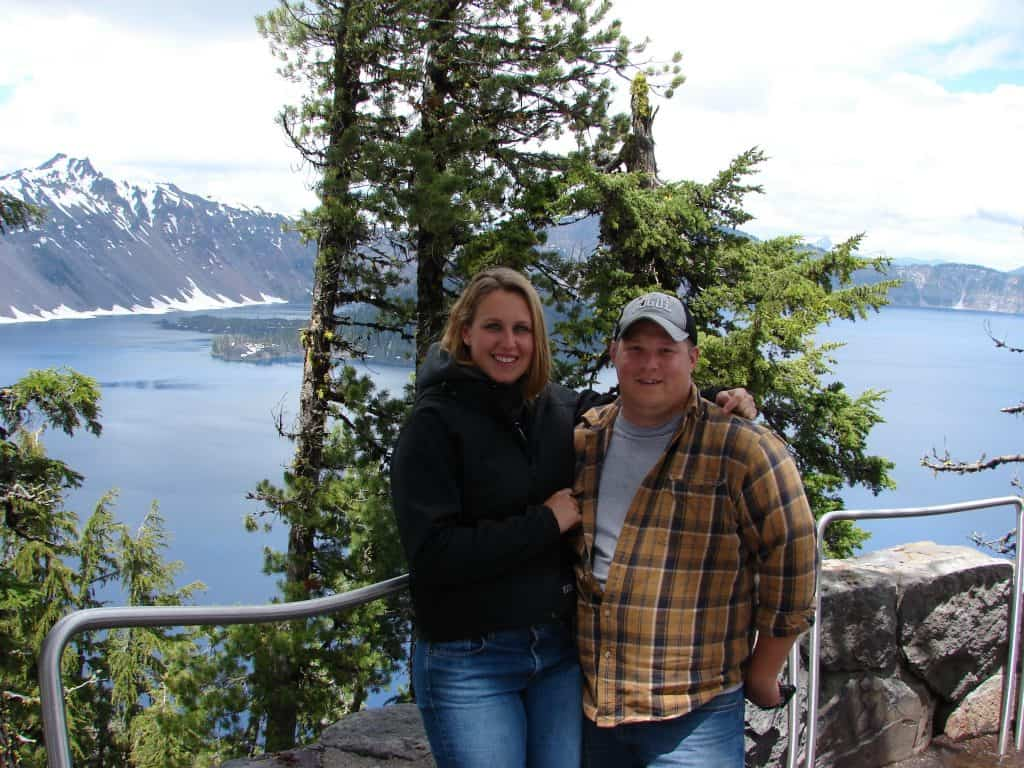 Alison with her husband Kris at Crater Lake