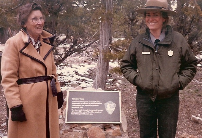Kelly in her National Park Service uniform, with her grandmother