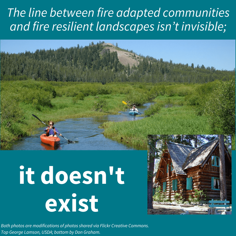 "Photo of two people kayaking in the foothills, imposed on a thumbnail image of a forested cabin, with the following quotation listed: ""The line between fire adapted communities and fire resilience landscapes isn't invisible; it doesn't exist."""