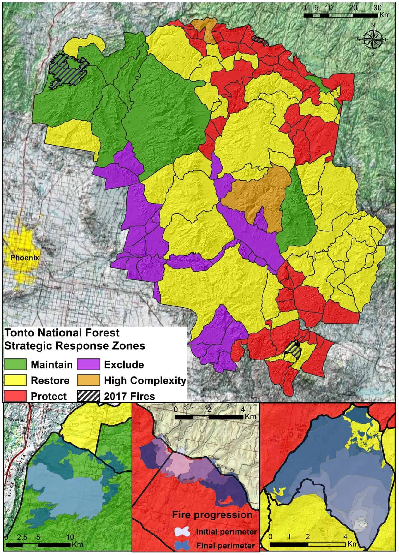 Map of Tonto National Forest's Potential Operational Delineations, color-coded according to the ideal management strategy for each respective POD.